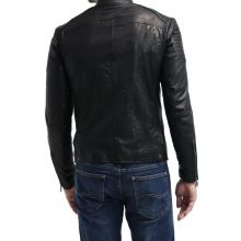 New Handmade Men's Black Biker Style Motorbike Cow-Hide Leather Jacket