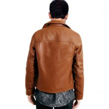 New Handmade Men's Brown Biker Style Sheep-Skin Leather Jacket