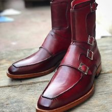 Handmade Men's Burgundy Colour Quad Monk Strap Round Toe Ankle High Dress Boots