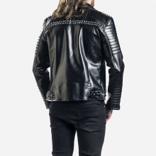 New Handmade Men's Heartless Gothic Studded Black Biker Leather Jacket