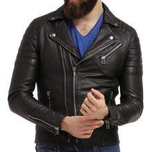 New Handmade Men's Black Biker Lamb-Skin Leather Jacket