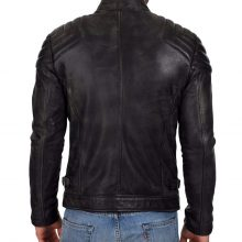 New Handmade Men's Black Biker Lamb-Skin Leather Jacket
