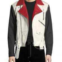 New Handmade Men's Red & White Biker Genuine Lamb-Skin Leather Jacket