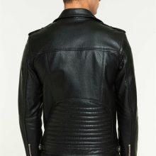 "New Handmade Men's ""Leon"" Biker Black Shearling Lined Leather Jacket"