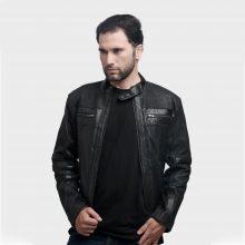 New Handmade Stylish Black Biker Leather Jacket