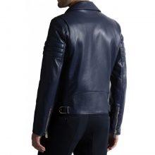 New Handmade Men's Biker Style Navy Blue Genuine Leather Jacket