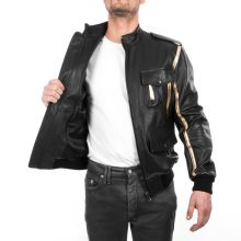 New Handmade Men's Italian Genuine Lamb Leather Bomber Black & Gold Jacket