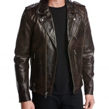New Handmade Men's Biker Style Black Genuine Leather Jacket