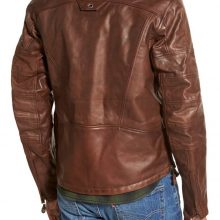 New Handmade Men's Cafe Racer Fashion Stylish Brown Biker Real Leather Jacket