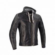 New Handmade Men's Biker Hoodie Sheepskin Motor cycle Leather Jacket
