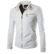New Handmade Men's Fashion Stylish White Biker Lamb-Skin Leather Jacket