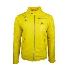 New Handmade Men's Fashion Stylish Yellow Biker Lamb-Skin Leather Jacket