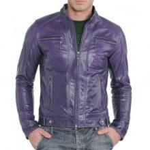 New Handmade Men's Fashion Stylish Purple Biker Lamb-Skin Leather Jacket