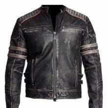 New Handmade Men's Biker Vintage Motorcycle Distressed Black Retro Leather Jacket