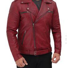 New Handmade Mens Negan Aymmetrical Leather Maroon Biker Jacket