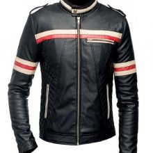 New Handmade Men's Cafe Racer Biker Style Motorcycle Genuine Leather Jacket Black with Red and White Stripes