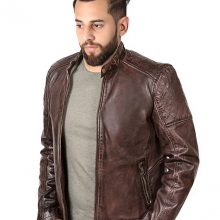New Handmade Men's New Biker Style Motorcycle Dark Brown Waxed Genuine Leather Jacket
