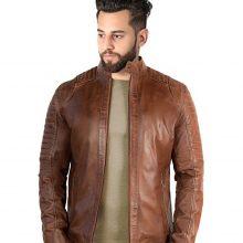 New Handmade Men's Biker Style Motorcycle Brown Genuine Leather Jacket