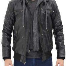 New Handmade Mens Black Leather Hooded Moto Biker Jacket