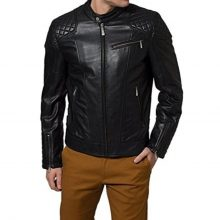 New Handmade Men's Black Quilted Style Biker Leather Jacket