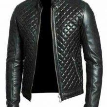 New Handmade Men's Black Real Leather Racer Neck Quilted Biker Jacket