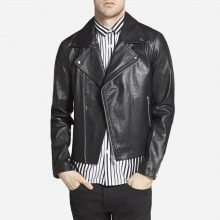 New Handmade Mens Hunky Black Leather Biker Jacket