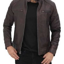 New Handmade Mens Brown Cafe Racer Leather Jacket