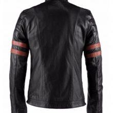 New Handmade Men's Retro Fight Club Hybrid Mayhem Biker Black Faux Leather Jacket with Red Stripes