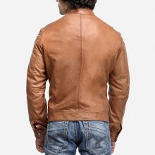 New Handmade Mens Stylish Tan Brown Biker Leather Jacket