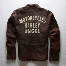 New Handmade Men's Fashion Brand Stripe Slim Fit Dark Brown Vintage Motorcycle Leather Jacket