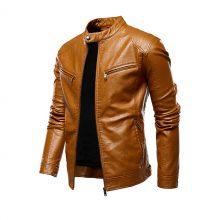 New Handmade Men's Motorcycle Causal Vintage Outfit Fashion Biker Zipper Pocket Design PU Leather Jacket