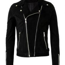 New Handmade Men Suede Black Biker Leather jacket