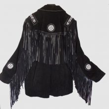 New Handmade Men's Western Cowboy Suede Leather Fringed & Beaded Jacket