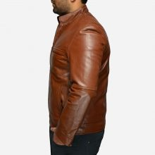 New Handmade Mens Stylish Tan Brown Biker Leather Jacket