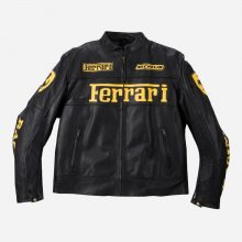New Handmade Mens Ferrari Black Leather Biker Jacket