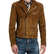 New Handmade Men's Camel Suede Biker Leather Jacket