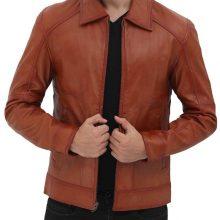 New Handmade Mens Brown Leather Biker Jacket