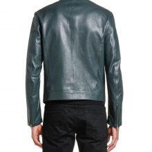 New Handmade Men's Leather Green Mandarin-Collar Biker Jacket