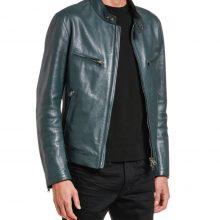 New Handmade Men's Leather Green Mandarin-Collar Biker Jacket