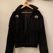 New Handmade Men's Just Brass Inc. Suede Black Tassel Fringes Jacket
