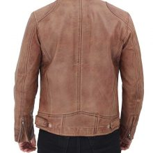 New Handmade Rib Brown Distressed Cafe Racer Leather Jacket