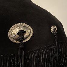 New Handmade Men's Just Brass Inc. Suede Black Tassel Fringes Jacket