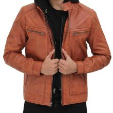 New Handmade Mens Tan Leather Biker Jacket with Hood