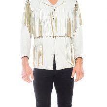 New Handmade Men's White Leather Fringe Jacket
