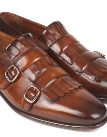 New Handmade Men's Brown Kiltie Double Monkstraps Shoes