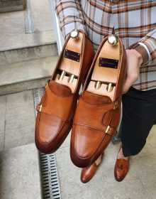 New Handmade Mens Brown Double Monk Strap Loafer Shoes