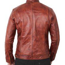 New Handmade Mens Brown Vintage Biker Leather Jacket
