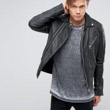 New Handmade Mens Black Leather Asymmetrical Biker Jacket