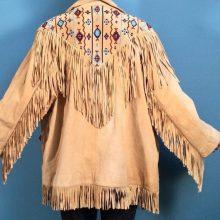 New Handmade Men's Tan Suede Leather Southwestern Fringe Jacket