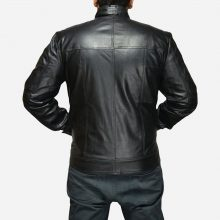 New Handmade Mens Stylish Black Leather Biker Jacket